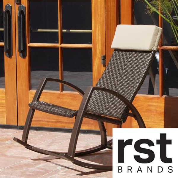Wondrous Shop Rst Brands Barcelona Woven Wicker Outdoor Rocker Chair Unemploymentrelief Wooden Chair Designs For Living Room Unemploymentrelieforg