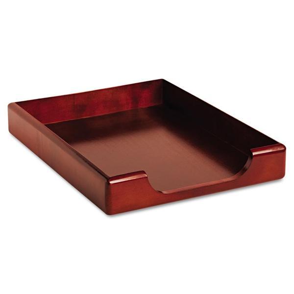 rolodex mahogany wood tones letter desk tray