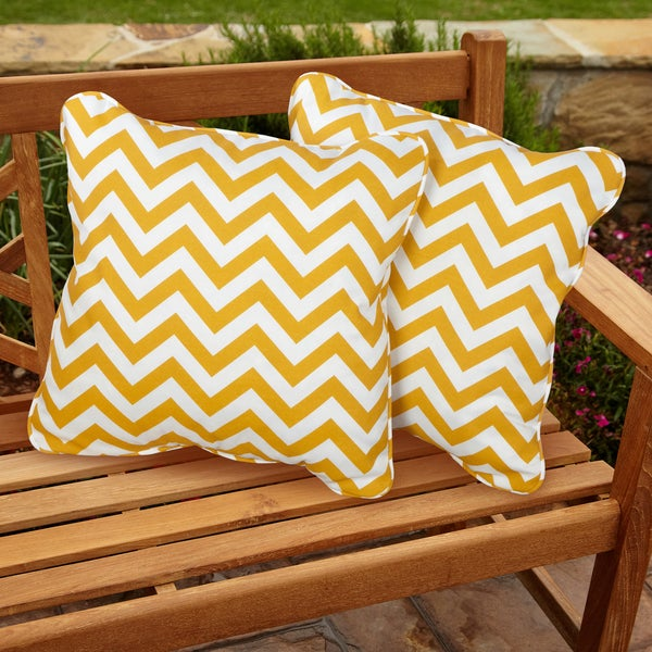 High Quality Chevron Yellow Square Corded Indoor/ Outdoor Pillows (Set Of 2)