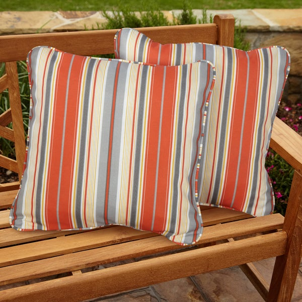 Tango Stripe Square Corded Outdoor Pillows (Set of 2)