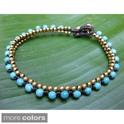 Handmade Turquoise or Howlite and Brass String Anklet (Thailand)