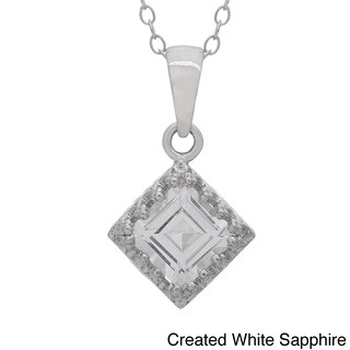 Gioelli Tiara Collection Sterling Silver 6mm Square Gemstone Crown Necklace (More options available)
