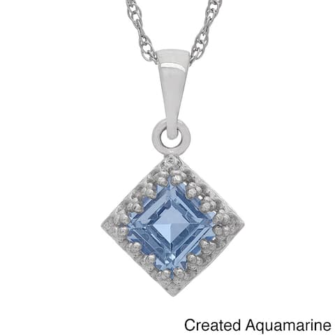 Gioelli Tiara Collection Sterling Silver 6mm Square Gemstone Crown Necklace