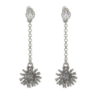 NEXTE Jewelry Silvertone Rhinestone Cattail Dangle Earrings