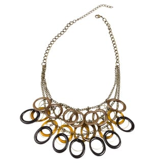 NEXTE Jewelry Goldtone Earthtone Lucite 3-row Oval Bib Necklace
