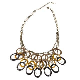 NEXTE Jewelry Goldtone Earthtone Lucite 3-row Oval Bib Necklace
