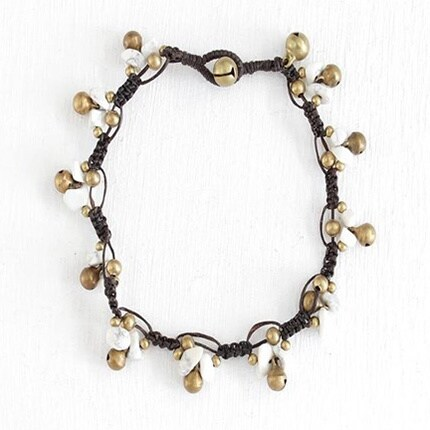 Handmade Shell Anklet with Brass Bells (Thailand)