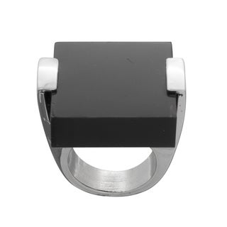 NEXTE Jewelry Silvertone Black Acrylic Square Tile Fashion Ring