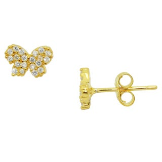Gioelli Gold over Silver Children's Pave Cubic Zirconia Butterfly Earrings