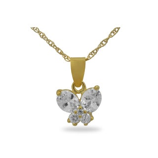 Gioelli Gold over Silver Children's Cubic Zirconia Butterfly Necklace