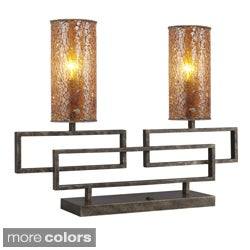 Twin 2-light Hand-painted Antique Brass Table Lamp