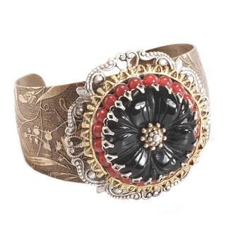 Sweet Romance Carved Black Flower Medallion Cuff Bracelet