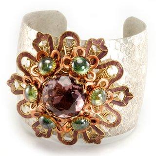 Sweet Romance Amethyst and Green Moonstone Glass Enamel Flower Cuff Bracelet