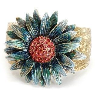 Sweet Romance Retro Blue Daisy Flower Cuff Bracelet