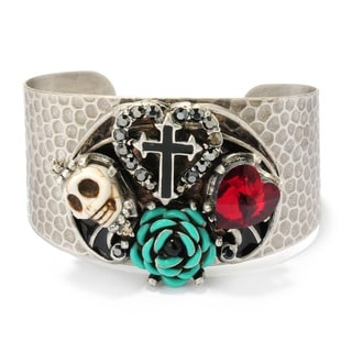 Sweet Romance Gothic Skull, Red Heart, Turquoise Rose and Cross Silver Cuff Bracelet