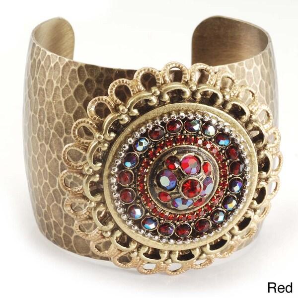 Sweet Romance Bronzetone Crystal Medallion Cuff Bracelet