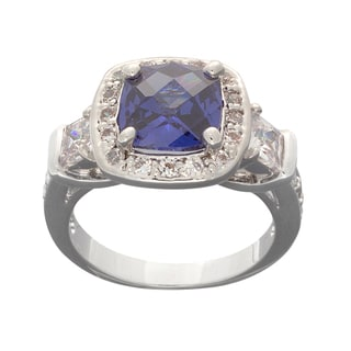 NEXTE Jewelry Silvertone Blue and White Cubic Zirconia Ring