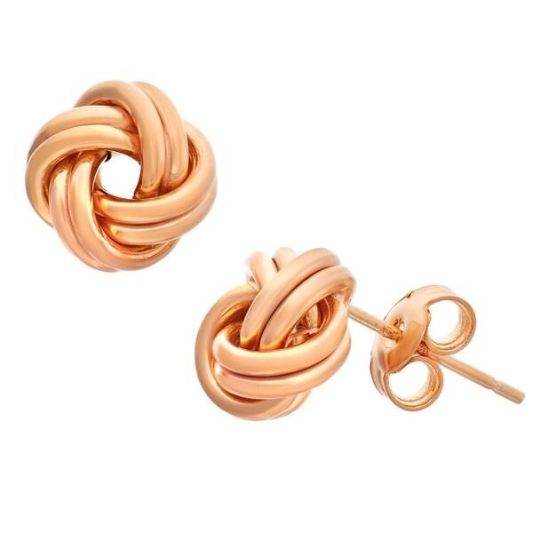 Gioelli 14k Gold Polished Love Knot Earrings