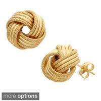 Gioelli 14k Gold Textured Love Knot Earrings