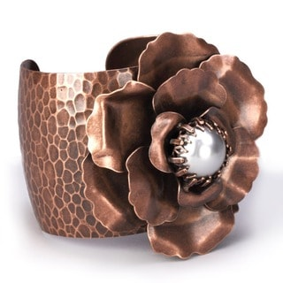Sweet Romance Copper Camellia Rose  Flower Cuff Bracelet