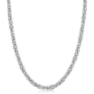 Fremada Rhodium Plated Sterling Silver 3.5 millimeters Byzantine Necklace