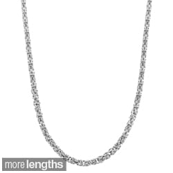 Fremada Rhodium Plated Silver 3.5mm Byzantine Necklace