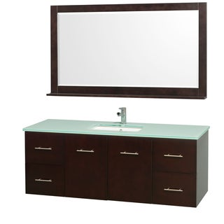 Wyndham Collection Centra Espresso/ Green Glass 60-inch Single Bathroom Vanity Set