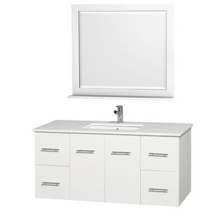 Wyndham Collection Centra White 48-inch Single Undermount Bathroom Vanity Set
