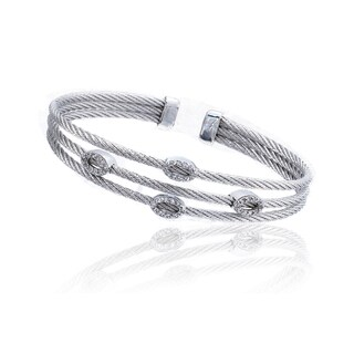 Riccova Silvertone Cubic Zirconia 3-row Cable Cuff Bracelet