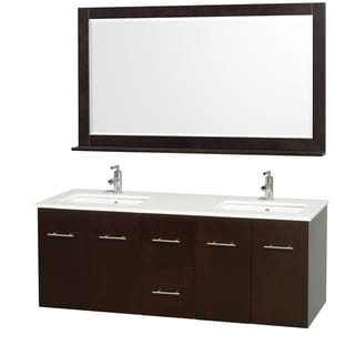 Wyndham Collection Centra Espresso/ White 60-inch Double Bathroom Vanity Set