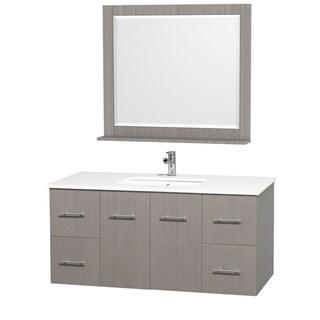 Wyndham Collection Centra Grey Oak/ White 48-inch Single Bathroom Vanity Set