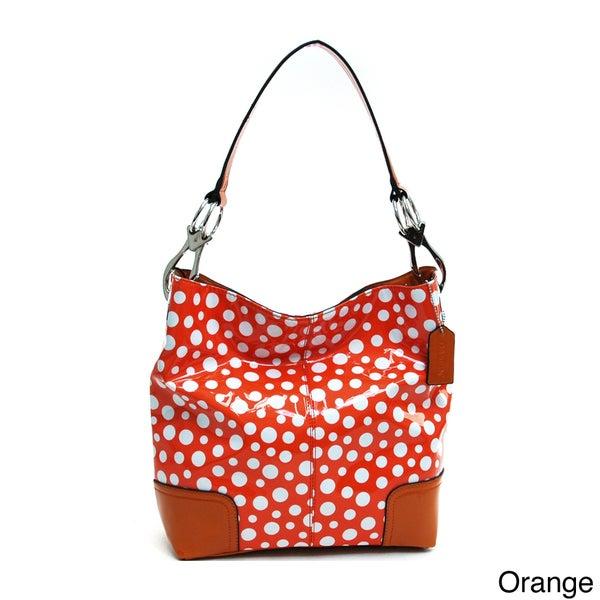 Dasein Women's Glossy Polka Dot Hobo Bag