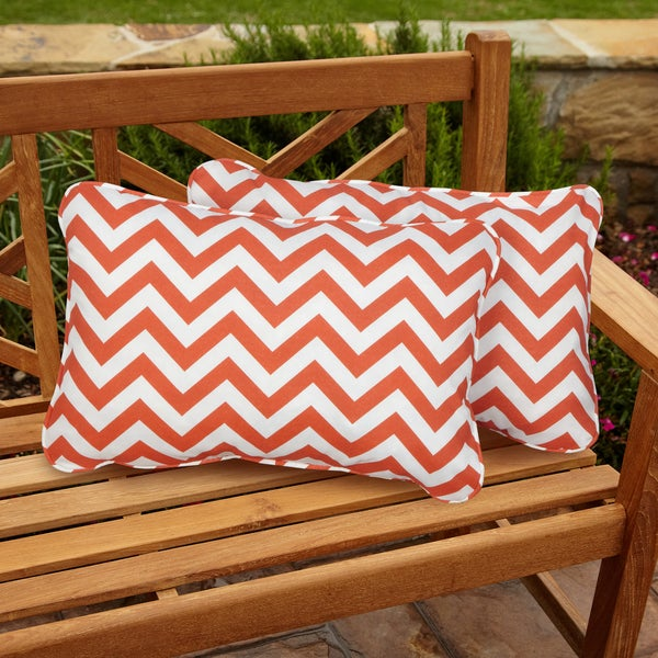 Chevron Orange Corded Indoor/ Outdoor Accent Pillows (Set of 2)