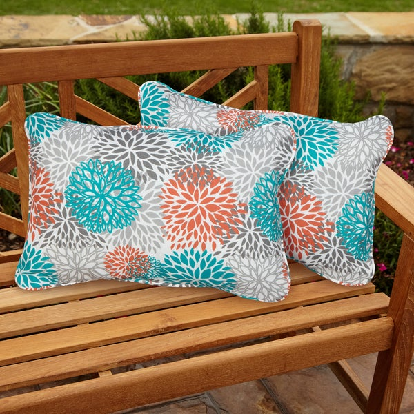 Tropic Bloom Corded Outdoor Pillows (Set of 2)