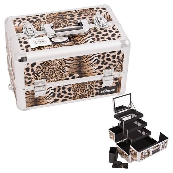 Sunrise Brown Leopard 3-Tier Extendable Tray Aluminum Makeup Case