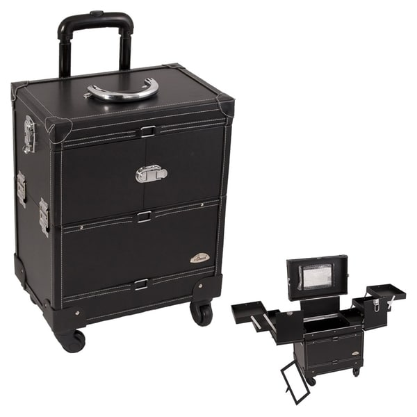 Sunrise Black Leather 3-Tier Extendable Tray Makeup Train Case