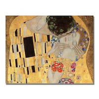 Gustav Klimt, 'The Kiss' Canvas Art
