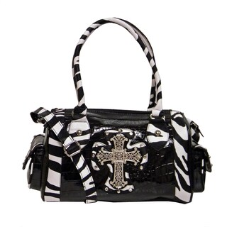 Marco Avane 'Mary' Zebra Trim Satchel Handbag