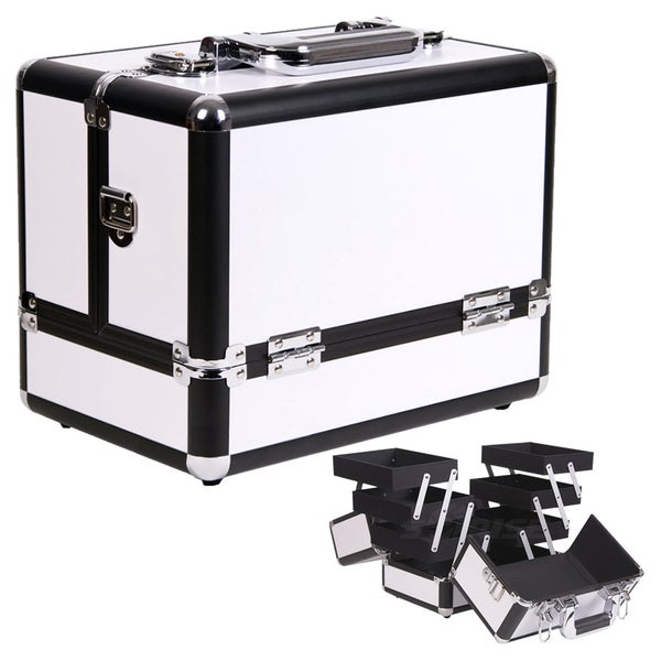 Casemetic Aluminum White Makeup Train Case