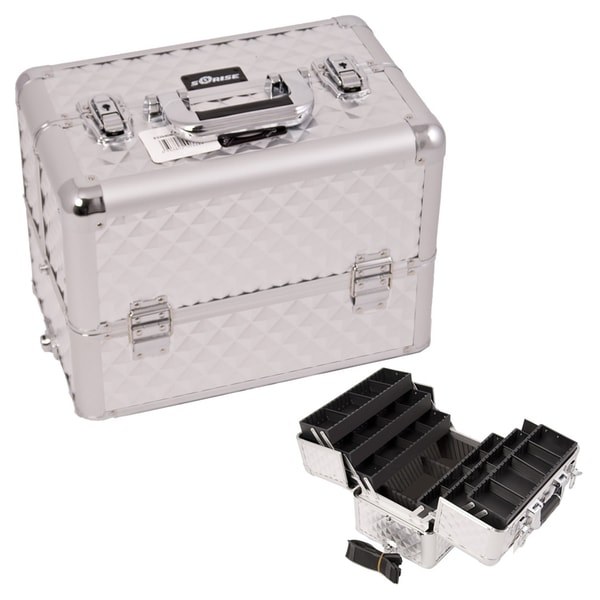 Sunrise Silver Diamond 6-Tier Aluminum Makeup Case