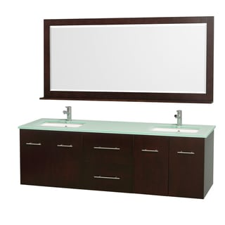 Wyndham Collection Centra Espresso/ Green Glass 72-inch Double Bathroom Vanity Set