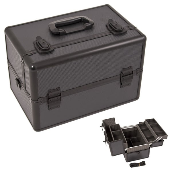 Justcase Black Dot Extendable Tray Cosmetic Makeup Case