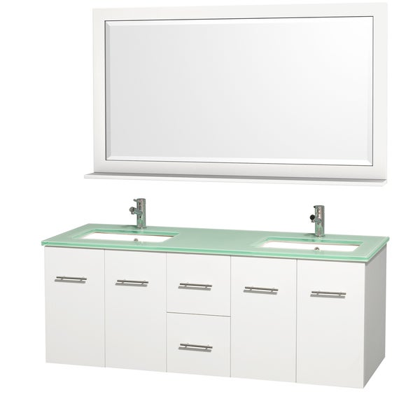 Wyndham Collection Centra White/ Green Glass 60-inch Double Bathroom Vanity Set
