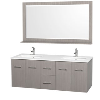 Wyndham Collection Centra Grey Oak/ White 60-inch Double Bathroom Vanity Set