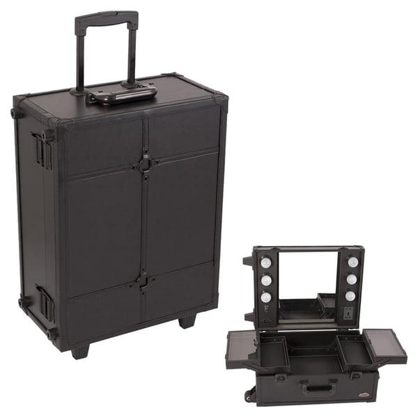 Sunrise Black Leather Rolling Makeup Case