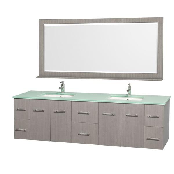 Shop Wyndham Collection Centra Grey Oak/ Green Glass 80-inch Double Bathroom Vanity Set