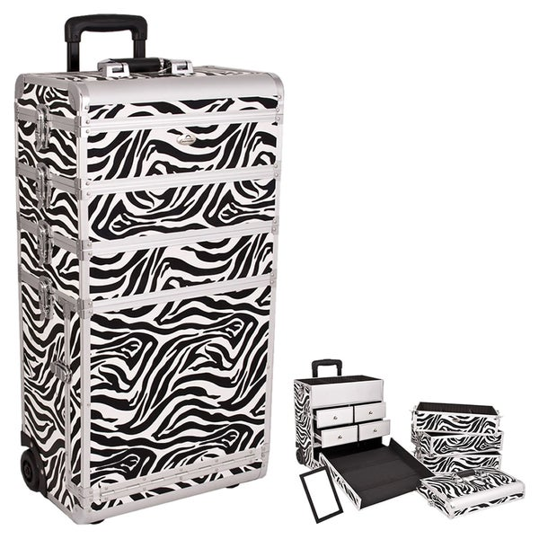 Sunrise 4-in-1 Zebra Rolling Makeup Train Case