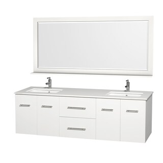 Wyndham Collection Centra White 72-inch Double Undermount Bathroom Vanity Set