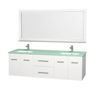 Wyndham Collection Centra White/ Green Glass 72-inch Double Bathroom Vanity Set