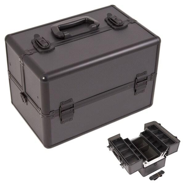 Justcase Black Dot 2-Tier Makeup Train Case
